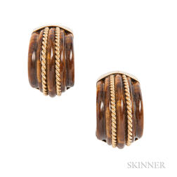 18kt Gold and Tiger's-eye Earrings, MAZ