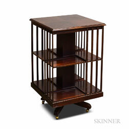 Mission-style Mahogany Two-tier Revolving Bookcase