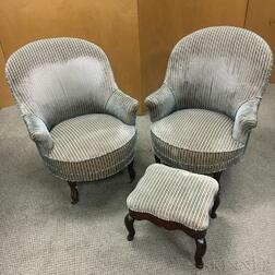 Pair of Victorian Upholstered Walnut Slipper Chairs and a Footstool.     Estimate $200-250