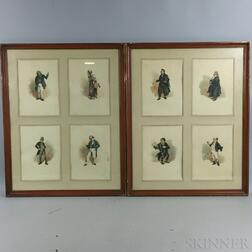 Six Framed Joseph Clayton Clark Lithographs of Dickens Characters