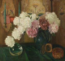 Austrian School, 19th/20th Century  Still Life with Peonies Before a Decorative Panel