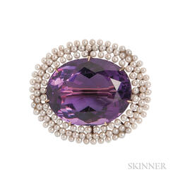 Antique Gold, Amethyst, and Pearl Brooch