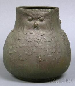 Bronze Owl Vessel