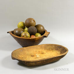 Two Wooden Bowls and a Group of Assorted Carved and Painted Wooden Balls.     Estimate $20-200