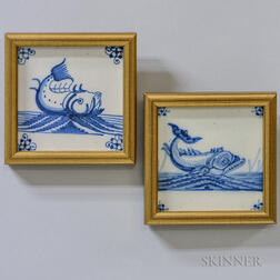 Two Delft Sea Monster Tiles