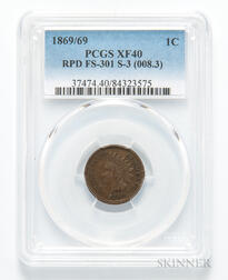 1869/69 Indian Head Cent, Repunched Date, FS-301, S-3, PCGS XF40.     Estimate $500-700