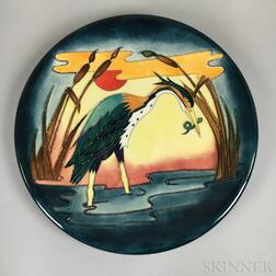 Modern Moorcroft Pottery Heron Charger