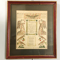 Framed Birth and Baptismal Fraktur Print with Watercolor Accents