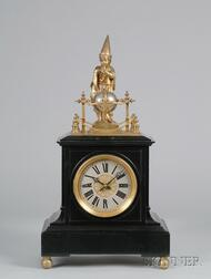 Rare French Quarter-Chiming Table Clock with Wizard Automaton
