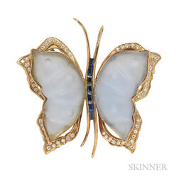 18kt Gold, Chalcedony, Sapphire, and Diamond Brooch