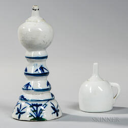Two White Porcelain Oil Lamps