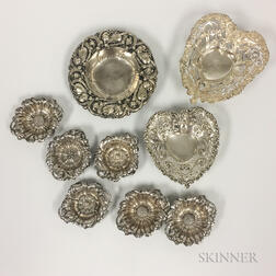 Nine Pieces of Floral Sterling Silver Tableware