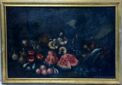 American School, 19th Century Style    Still Life with Fruit and Mushrooms