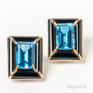 Large 14kt Gold, Onyx, and Blue Gemstone Earrings