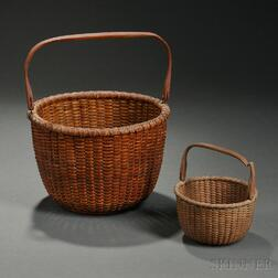 Two Round Swing-handled Nantucket Baskets