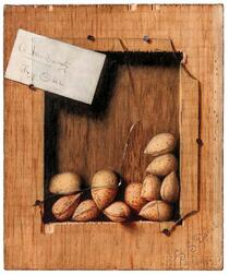 De Scott Evans (American, 1847-1898)      A New Variety, Try One  /A Trompe l'Oeil Still Life with Almonds