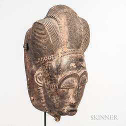Large Baule-style Carved Wood Face Mask