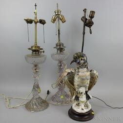 Two Colorless Glass Oil Lamps and a Ceramic Shell-form Parrot Lamp