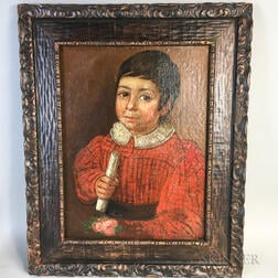 Spanish or Spanish Colonial School, 19th Century    Half-length Portrait of a Boy in Red Holding a Scroll