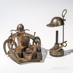 Cast Brass Equestrian Smoking Stand and Matching Lamp