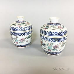 Pair of Small Chinese Porcelain Lidded Jars