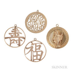 Four 14kt Gold Charms
