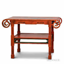 Chinese-style Red-lacquered Altar Table