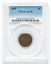 1869 Indian Head Cent, PCGS AU55.