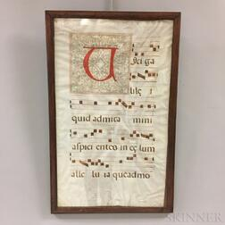 Early Framed Continental Illuminated Manuscript Hymnal Page
