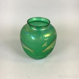 Green and Etched Iridescent Glass Dolphin-decorated Vase