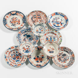 Eleven Export Porcelain Imari Palette Table Items