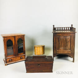 Four Small Wood Cabinets and Boxes