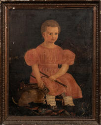 American School, 19th Century      Seated Child in a Pink Dress with Rabbit and Jester Doll