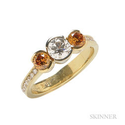 18kt Gold, Diamond, and Colored Diamond Ring, R.W. Wise