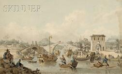 William Alexander (British, 1767-1816)      Chinese Barges of the Embassy Preparing to Pass Under a Bridge