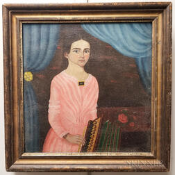 American School, 19th Century    Girl in a Pink Dress Playing an Accordion
