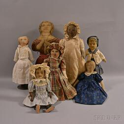 Seven Lithographed and Babyland Rag Dolls