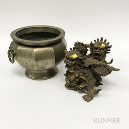 Brass Urn and Pair of Metal Shishi Lions