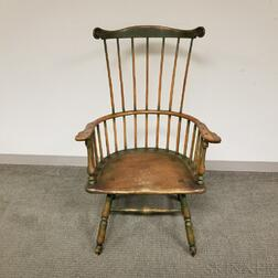 Green-painted Fan-back Windsor Armchair