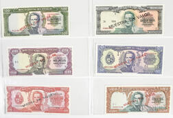 1967 Banco Central Del Uruguay Six-note Specimen Set
