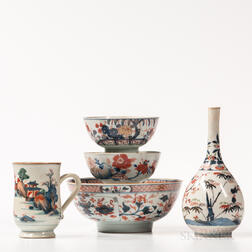 Five Imari Palette Export Porcelain Table Items