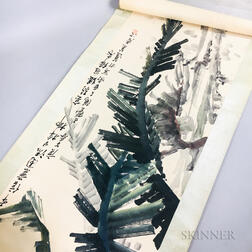 Hanging Scroll Depicting Banana Leaves