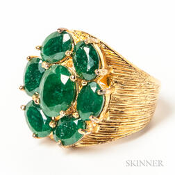 Gilt Sterling Silver and Green Hardstone Cluster Ring