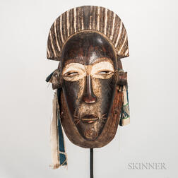 Large Senufo-style Carved and Painted Wood Face Mask