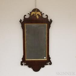 Chippendale Carved, Inlaid, and Parcel-gilt Mahogany Scroll-frame Mirror