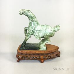 Carved Jadeite Horse on Stand