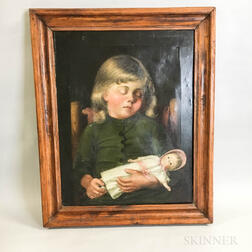 Framed Oil on Canvas Portrait of a Sleeping Girl with a Doll