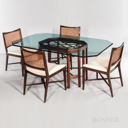 Four Edward Wormley for Dunbar Walnut Woven-back Chairs and a Glass-top Dining Table