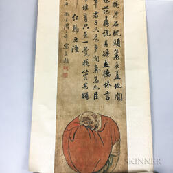 Hanging Scroll Depicting a Monk with Calligraphy