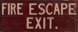 """Red- and White-painted """"Fire Escape/Exit"""" Sign"""